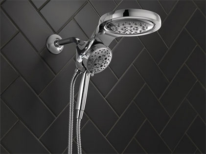 HydroRain® Two-in-One Shower Head with Hand Shower and H2Okinetic® Technology