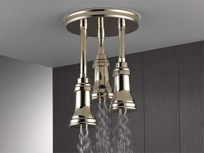 Delta® Pendant Raincan Shower Head with H2Okinetic® Technology and LED Lighting